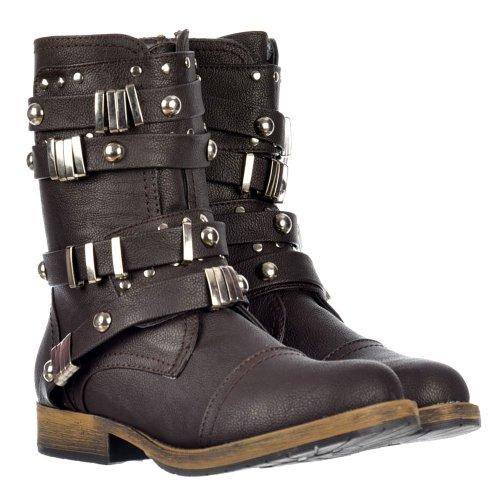Damen Frauen Dolcis militärischen Stil Knöchel Motorradfahrer Boot - Metall verzierte Gürtelschnalle - Schwarz, Braun Braun
