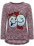 BEZLIT Mädchen Kinder Pullover Wende Pailletten Sweatshirt Meliert 22856 Bordeaux Größe 104