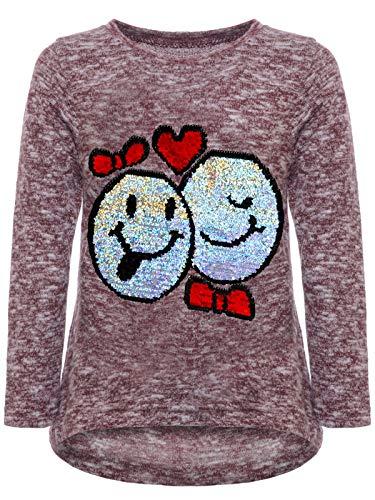 emoji shirt mit wendepailletten BEZLIT Mädchen Kinder Pullover Wende Pailletten Sweatshirt Meliert 22856 Bordeaux Größe 104
