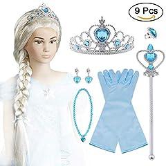 Idea Regalo - Vicloon Nuovi Costumi da Principessa Set di 9 PCS Dono - Parrucca,Diadema,Guanti,Bacchetta Magica,Orecchini,Anello da 3 a 10 Anni ...