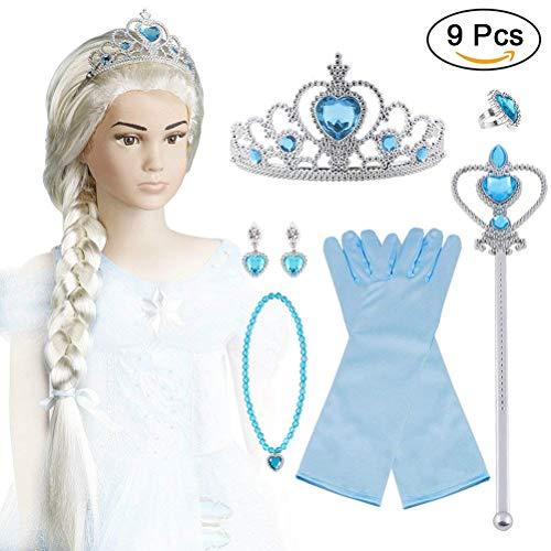 Kostüm Perücke Elsa - Vicloon ELSA Frozen Set, Krone Zauberstab Blau Handschuhe Haare Halskette Ring Ohrringe Set von 7
