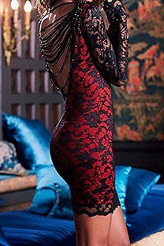 Bigood Robe de Cocktail Femme Dentelle Sexy Dos Nu Soirée Rouge foncé
