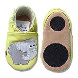 HOBEA-Germany Baby Lauflernschuhe Tiermotiv mit Anti-Rutsch-Sohle, Kinder Hausschuhe mit Tiermotiv: Elefant hellgrün, Größe: 24/25 (24-30 Mon)