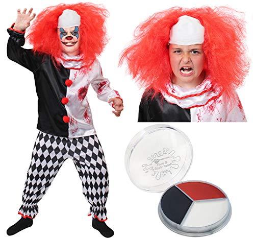 Beängstigend Clown Kostüm - B-Creative Childs Killer Clown Kostüm Jungs Mädchen Horror BEÄNGSTIGEND Halloween Fancy Kleid (MEDIUM 7-9 Y/O) (Kostüm, Perücke und GESICHTSFARBE)