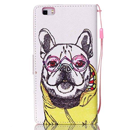 Trumpshop Smartphone Case Coque Housse Etui de Protection pour Huawei P8 Lite + This iPhone is Locked + Smartphonecoque Portefeuille PU Cuir Anti-Choc Bouledogue Mignon