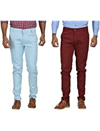 Kushsection Sky Blue Trousers & Maroon Trousers Cotton Trousers Combo Solid Trousers F11S17 (Pack Of 2 Casual...