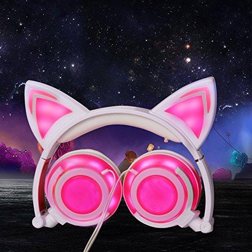 Ohren Katze Rosa (Katze Ohr verdrahtete blinkende helle Kopfhörer faltbare justierbare HearsetsFlash Blue Light for)