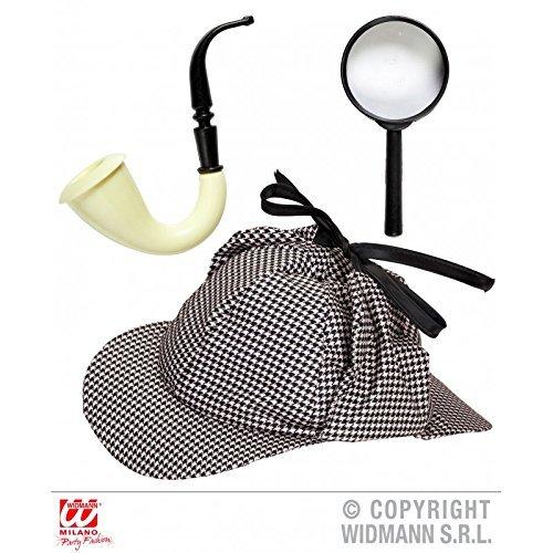 Detektiv Kostüm Set mit Mütze, Pfeife und Lupe / Ermittler Geheimagent Spion Zubehör 3-teilig