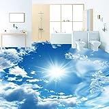 Rureng Benutzerdefinierte Wandbild Tapete Moderne Blauen Himmel Sonnenschein Bodenfliesen Aufkleber Bad Pvc Selbstklebende Wasserdichte Bodenbelag Tapete 3 D