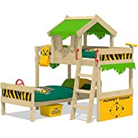 WICKEY Abenteuer-Bett CrAzY Bounty Kinderbett 90x200 Spielbett f/ür Kinder mit Lattenboden rot Spielpodest und Schiffanbau