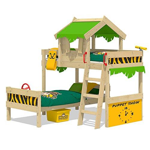 WICKEY Etagenbett CrAzY Jungle Hochbett Doppel-Kinderbett 90x200 mit Lattenboden und Dach, apfelgrün-gelb (Besten Etagenbett)