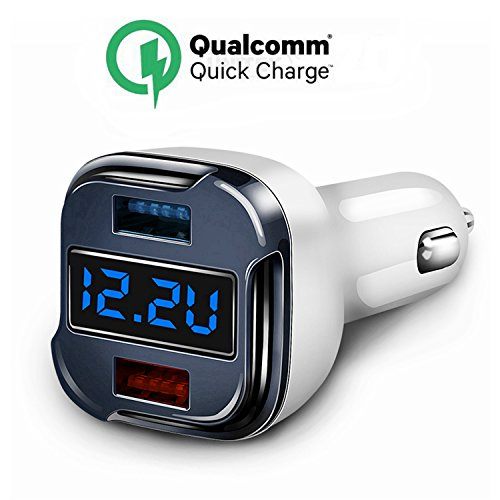 Quick Charge KFZ-Ladegerät, 24W 5A Fast Dual USB Ladegerät Adapter mit Spannung Meter Monitor Amperemeter Strom Tester für IPhone X, 8,7,7 Plus, 6 Plus, Ipad Nexus LG HTC SONY Samsung Galaxy S6 S7 S8 Edge