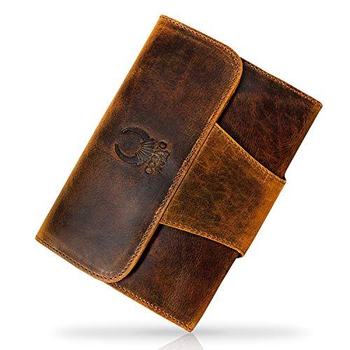 Corno d´Oro Travel wallet Leder Lederhülle für iPad Mini 1 2 3 4 Hülle Case Cover für Tablet 7.9 Zoll Tasche Schutzhülle Ledertasche Sleeve Herren Damen Organizer Reisebrieftasche aus Echt-Leder Vintage braun IP09