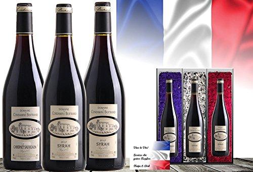 Luxus Wein-Geschenk Frankreich   Vintage France 3er Set   Syrah, Cabernet Sauvignon Cuvée   Das Luxusgeschenk für Wein-Freunde & Kenner   limitierte Edition  mit Geschenkkarte  45 Jahre alte Reben
