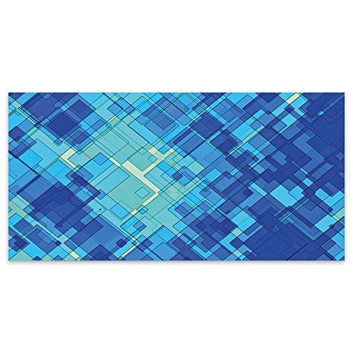 Blaue Quadrate Gitter Glas Modern abstrakt Acryl Glas Wand Kunst -120cm x 60cm