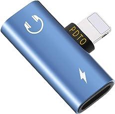 Adapter Blitz Splitter Dual Lightning Kopfhörer Aux Audio/Lade Adapter für iphone x / 8/8 Plus / 7/7 Plus 2-in-1(Blau)