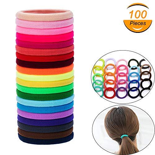 Elastische Haargummi für Mädchen und Damen, 100 Stück Groß Baumwolle Haarbänder Pferdeschwanz Inhaber für Dicke Schwere und Lockiges Haar (Thread-inhaber)