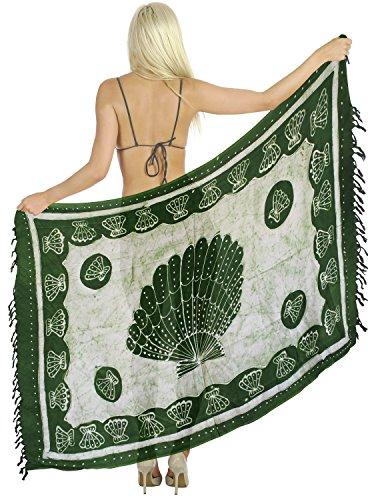 costumi da bagno sarong involucro beachwear del costume da bagno costume da bagno coprire donne del pannello esterno pareo Verde foresta