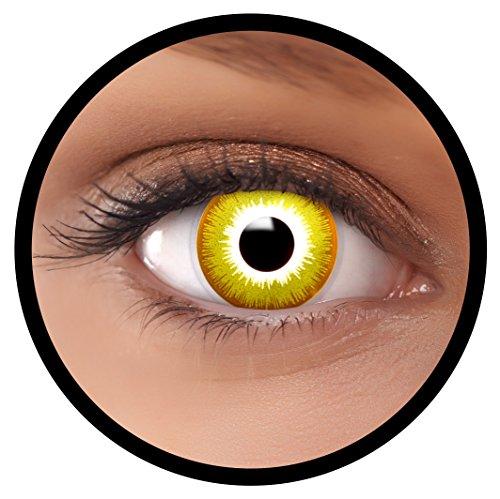Farbige Kontaktlinsen gelb Avatar | Ideal für Halloween, Karneval, Fasching oder Fastnacht | Inklusive Behälter von FXEYEZ | Ohne Stärke als 2er Pack