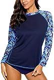 Charmleaks Langarm Lycra Sonnenschutz UPF 50 Badeanzug Top Gestreiftes Swim Shirts