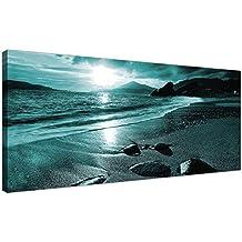 Cuadros en lienzo Wallfillers® modernos, modelo atardecer en la playa – cuadro para pared de mar turquesa – 1079