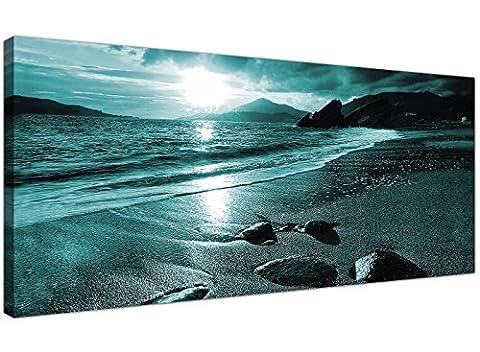 Moderne Bleu sarcelle Tableaux sur toile Motif coucher de soleil sur une plage Turquoise mer décorative murale 1079–Wallfillers ®
