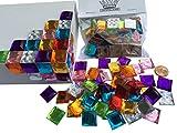 CRYSTAL KING Lot de 100 Pierres de mosaïque Autocollantes Multicolores Multicolores 16 mm pour décoration de Pierres en Acrylique Opale Effet Arc-en-Ciel...