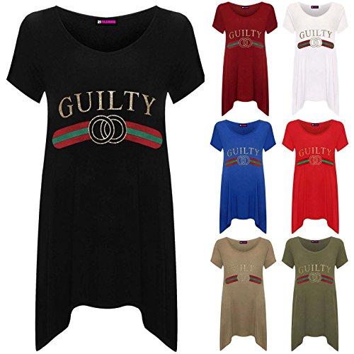 DigitalSpot Guilty Lurex Slogan Hanky Hem Baggy Shirt Womens Round Neck Short Sleeve Top
