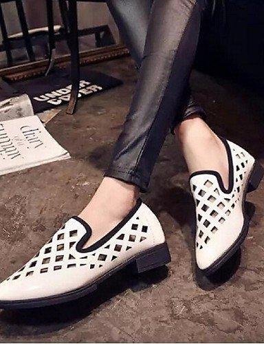 ShangYi Scarpe Donna - Mocassini - Casual - A punta - Piatto - Finta pelle - Nero / Bianco Black