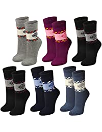 Lavazio® 6 Paar warme und kuschlige Damen Thermosocken mit Herzen und Schneeflocken 5 verschiedene Farben