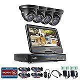 Sannce 4CH 720P(1280x720) HD Kit de Vidéo Surveillance avec LCD Ecran Moniteur HD 10,1 Intégré +4*1.0MP Caméra Système Surveillance HD Jour/Nuit Haute Résolution P2P
