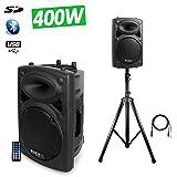 'Altoparlante sono DJ PA amplificata 1025cm 400W USB/SD/BT + piede + Cavo PC