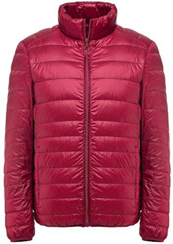 Groß Und Schlank Golf-sport-shirt (Sawadikaa Herren Ultra Leicht Verpackbar Stehkragen Winter Kissen Daunenjacke Rot Large)