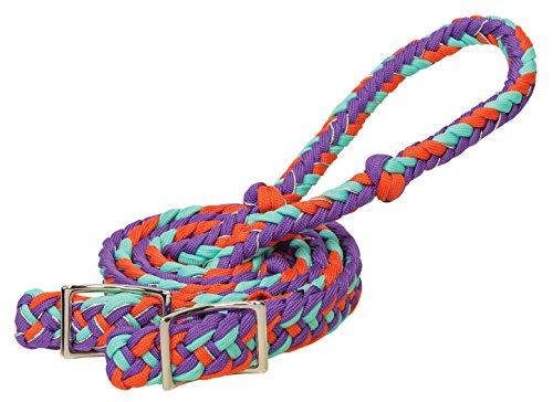 Weaver Leder geflochten Nylon Schaft Zügel, Hurricane, Purple/Orange/Mint/Sparkle