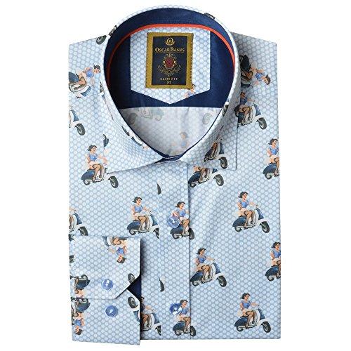 Oscar Banks Oldtimer Vespa Roller print Herrenshirt, gebraucht gebraucht kaufen  Wird an jeden Ort in Deutschland