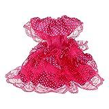 Puppenkleidung Punkt Gedruckt Parteikleid Kleid Für Barbie-Puppen - Fuchsia