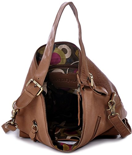 MASQUENADA, Cntmp, Damen Schultertaschen, Hobo-Bags, Handtaschen, Umhängetaschen, DIN-A4, Leder Karamellbraun, Camel, Braun 30x33x13cm (B x H x T) Cognac
