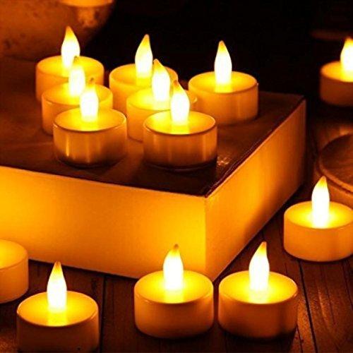 Hunpta 12pc LED Tee Licht realistische batteriebetriebene flammenlose Kerzen für Gärten, Häuser, Hochzeit, Weihnachtsfeier (Gelb)