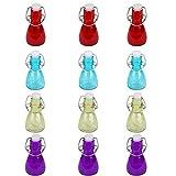 Annastore 12 Stück Glasfläschchen mit Bügelverschluss, bunt 80 ml