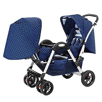 TCYLZ Cochecito de bebé Gemelo Cochecito Infantil, Plegable portátil Puede Sentarse o acostarse Cochecito Doble para bebés y bebés, Puede ingresar al Elevador, para 0-4 años