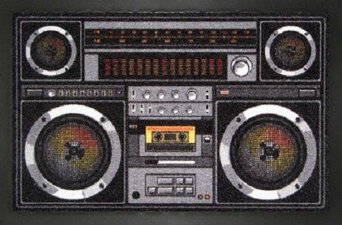 'Felpudo de radiocasete Retro Música Diseño Matte getto Blaster. Felpudo para Puerta Alfombrilla, Esterilla, limpiabarros