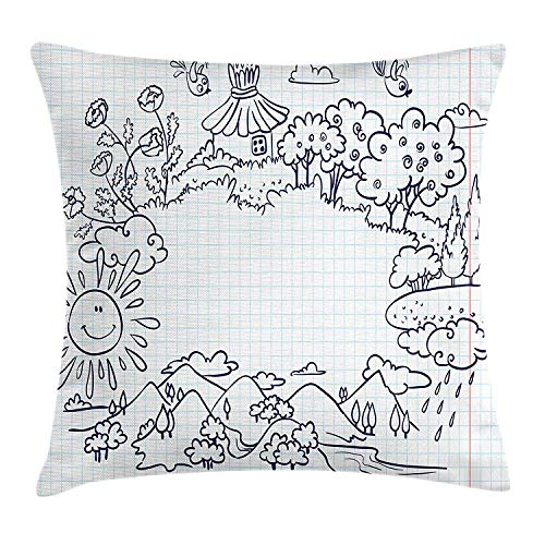 Ntpclsuits Doodle Throw Pillow Cushion Cover, Childish Summer Frame with Flowers Mountains Trees and Smiling Sun, Decorative Square Accent Pillow Case, 18 X 18 inches, Dark Blue Pale Blue Coral