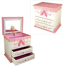 Girls Musical Jewellery Box with Ballet Shoes Design by Mele & Co. by Mele &