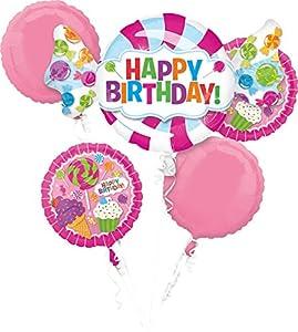 Amscan International 3161801 - Ramo de Globo de Papel de Aluminio con Texto Happy Birthday Sweet Shop