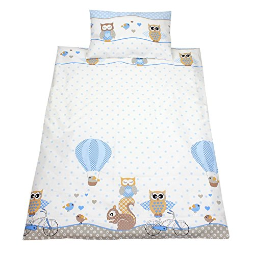 Kinderbettwäsche 100x135 Bettgarnitur Baby Bettwäsche 2 tlg. Bettset 100% Baumwolle Eulen- Bärchenmotiv, Farbe: Eulen Blau, Größe: 135x100 cm