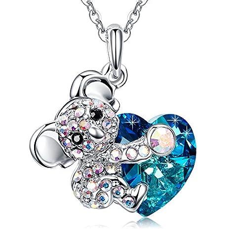MEGA CREATIVE JEWELRY-Women Necklace Koala Bear Heart Shaped Swarovski Crystal Pendant Jewellery Gift for Wife Daughter Girls Best