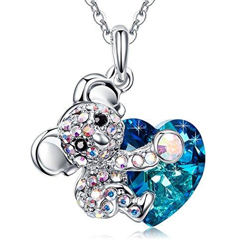 """MEGA CREATIVE JEWELRY """"El Amor Abrazo"""" Osito Koala Collares Mujer de Corazón Cristales Swarovski Colgantes de la Moda Aleación, Regalo de la Joyería"""