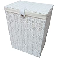 Arpan Medium Laundry Clothes Basket with Lid and Lining Storage Basket with Removable Lining, - White by ARPAN