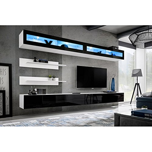Paris Prix - Meuble TV Mural Design Fly VII 320cm Noir & Blanc