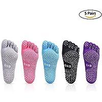 GHB 5 Pairs Non Slip Skid Pilates Yoga Socks Anti-Slip Full Toe with Grips Cotton for Women